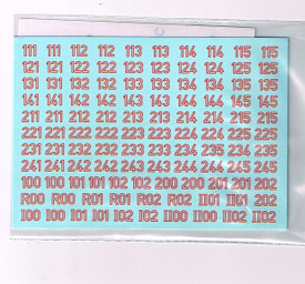 German Turret Numbers Red Outline 12ROL New 1/87 Scale Water Slide Decals