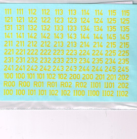 German Turret Numbers Solid Yellow 12Y New 1/87 Water Slide Decals