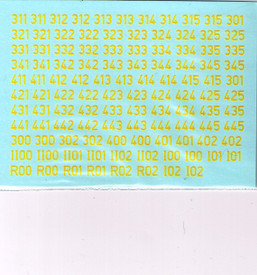 German Turret Numbers Solid Yellow 34Y New 1/87 Water Slide Decals