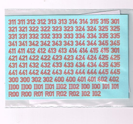 German WWII Turret Numbers Red Outline 34ROL New 1/87 Water Slide Decals