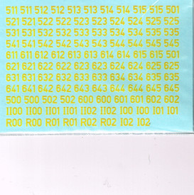 German WWII Turret Numbers Solid Yellow 56Y New 1/87 Water Slide Decals