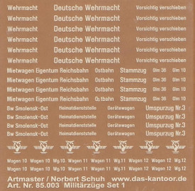 German Military Train Decals Artmaster 85003 Rub-On Dry Transfer 1/87 Scale