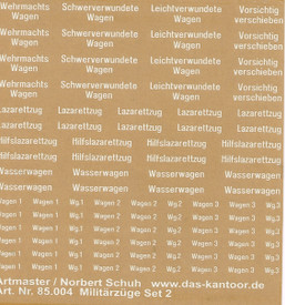 German Military Train Decals Artmaster 85004 Rub-On Dry Transfer 1/87 Scale