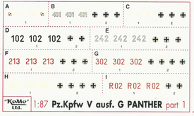 Panther Ausf. G Markings Set 1 Arsenal-M 142100061 New 1/87 Scale Decals