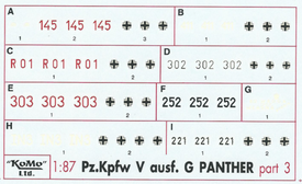 Panther Ausf. G Markings Set 3 Arsenal-M 142100063 New 1/87 Scale Decals
