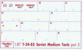 T34/85 Russian Markings Set 3 Arsenal-M 143500073 New 1/87 Scale Decals