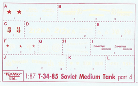 T34/85 Russian Markings Set 4 Arsenal-M 143500074 New 1/87 Scale Decals