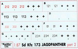 Jagdpanther Sd.Kfz.173 Markings, Set 2 Arsenal-M 142100032 New 1/87 Decals