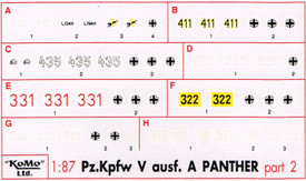 Panther Ausf. A Markings, Set 2 Arsenal-M 142100042 New 1/87 Scale Decals