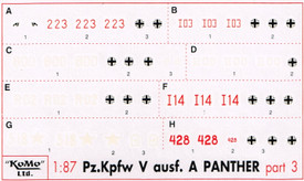 Panther Ausf. A Markings, Set 3 Arsenal-M 142100043 New 1/87 Scale Decals
