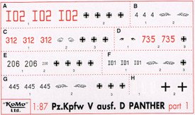 Panther Ausf. D Markings, Set 1, Arsenal-M 142100051 New 1/87 Scale Decals