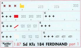 Ferdinand Panzerjäger Markings. Set 1. Arsenal-M 142100021 Decals 1/87