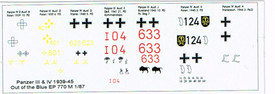 Markings For Panzer III & Panzer IV 1939-45 Peddinghaus 770-1 New 1/87 Scale