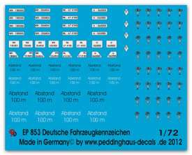 German License Plate Markings Peddinghaus 853 New 1/72 Scale Decals