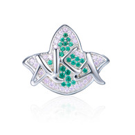 Pre-Order -New AKA Pink & Green Ivy and Diamond Heirloom Bead Charm