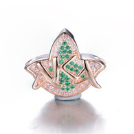 18kt Rose Gold Plated Sterling Silver AKA Pink & Green Ivy and Diamond Heirloom Bead Charm