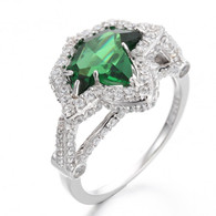 Vintage Emerald and Diamond Ivy Ring