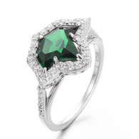 Split Band Emerald Ivy  Ring