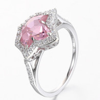 Split Band Pink sapphire Ivy and Diamond Ring