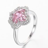 Pink Sapphire and Diamond Ivy Ring