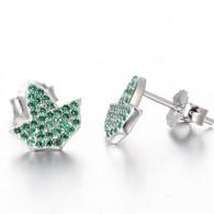 Ivy Shaped Emerald Earrings