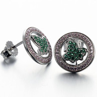 Pink Saphire Circle and Ivy shaped Emerald Earrings