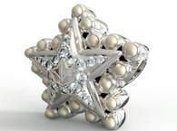 Silver Star Diamond and Pearls Bead Charm