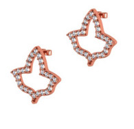 Rose Gold Open Ivy Shaped Diamond Earrings