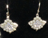 Sterling Silver and CZ Ivy and Pearl earrings