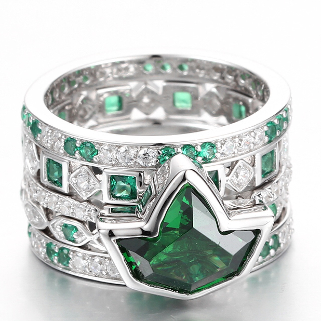 38887278991eb Stacked Emerald Ivy and Diamond Rings