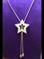 18 inch Lariat Star Silver Necklace
