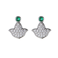 Pave diamond earrings with Emerald accents
