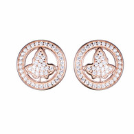 New Rose Gold and Gold Circle Ivy Diamond Earrings