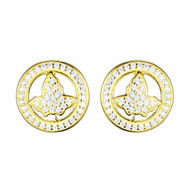New Gold Circle Ivy Diamond Earrings