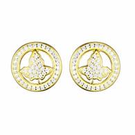 New Gold Circle Ivy Diamond Earrings