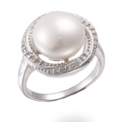 Round freshwater pearl, cz diamond and Sterling silver ring