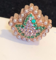 New - 18 Kt Rose Gold Pink Saphire and Emerald Ivy Diamond and Pearls Bead Charm