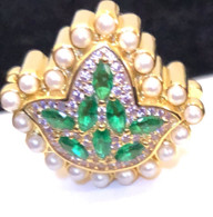 New 14 Kt  Marquis cut Emerald Ivy Diamond and Pearls Bead Charm