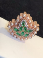 New- 18kt Rose Gold   Marquis Cut Emerald Ivy Diamond and Pearls Bead Charm