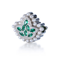 New -  Marquis cut Emerald Ivy Diamond and Pearls Bead Charm