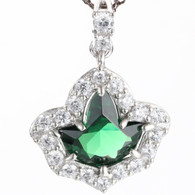 Emerald And Diamond  Ivy Pendant and Sterling Silver Necklace