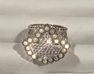 New Ultimate Ivy and Pearls CZ Diamond Multi-Band Cable ring.
