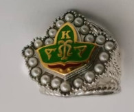 New Green Ivy Badge  Pearls CZ Multi-Band Cable ring.