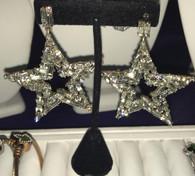 Super Dazzeling baguette Silver Star  earrings