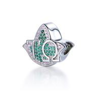 Tau Omega Pink and Green Ivy bead charm