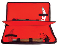 "Strong vinyl zippered case with red felt lining. Three velcro straps and elastic blade holder.19"" long. A sleek kama case with nylon strap and zipper closure. This kama case features a lined Inner compartment with shock-absorbing red felt. It also features a separating panel to prevent your weapons from chipping each other. This kama case comes with three adjustable Velcro straps to secure your handles, plus an additional elastic strap holds your kama blades in place. 10"" x 19"" when closed."