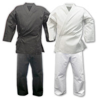 This 6 oz white uniform is made of durable poly/cotton for a wrinkle-free finish - traditional style wrap-around tie top. Pants have an additional double inseam and full gusset - elastic waist with drawstring. Set includes white belt.