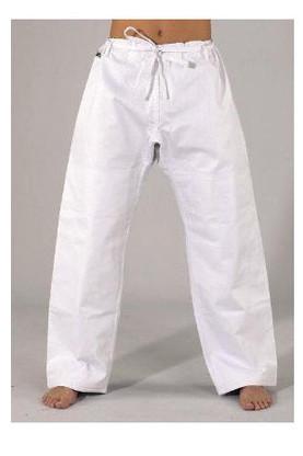 "Judo Pants, Single Weave with Drawstring Waist  00 65 lbs 4'4"" 0 80 lbs 4'6"" 1 95 lbs 4'9"" 2 115 lbs 5'2"" 3 125 lbs 5'5"" 4 150 lbs 5'7"" 5 175 lbs 5'9"" 6 195 lbs 6'0"" 7 225 lbs 6'2"""