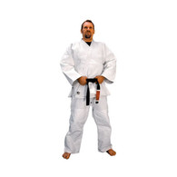 "Cahill's newly designed Double Weave Classic Elite Judo Uniform. This uniform was specially designed by Olympic Judo Coach Willy Cahill and is the official uniform for the USABA National Judo Team. The draw-string pants have a two-ply construction on the front side running almost its entire length from the thigh to the cuff. Stronger stitching methods are used where it counts, especially in the grappling areas of the lapel and chest. Enhanced re-enforcement is sewn in to decrease chances of wear and tear. Interlocked stitching can also be found along the major seams that undergo extreme pulling forces like the backside of the jacket and down the sleeves as well as in the armpits and crotch area.  2   115 lb 5'2""  3   125 lb 5'5""  4   150 lb 5'7""  5   175 lb 5'9""  6   195 lb 6'0""  7   225 lb 6'2"""