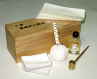 Sword cleaning kit includes rice paper, oil, and power to keep swords in great condition.